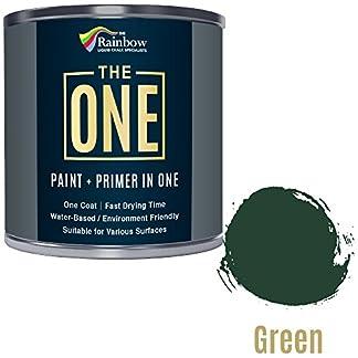 Una pintura, una capa, Multi superficie pintura para madera, metal, plástico, interior, exterior, verde, satinado, 250ml