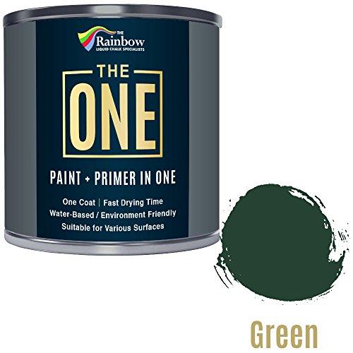 Una pintura, una capa, Multi superficie pintura para madera, metal, plástico, interior, exterior, verde, Mate, 250ml