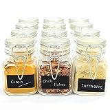 Maison & White Barattoli di vetro con chiusura a clip mini   Preservare Jam Spice   Bomboniere Regalo di compleanno   Contenitori decorativi   Con etichette nere GRATUITE e penna bianca per gesso   12
