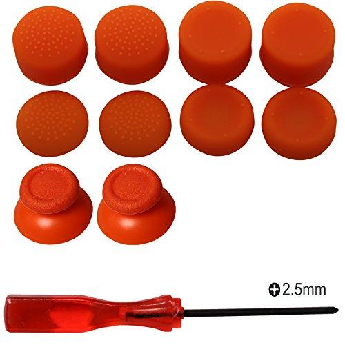Kit de reparación de joystick analógico de reemplazo eJiasu, destornillador Phillips de 2,5 mm con altura de palanca de mando y palanca de mando para PS4 DualShock 4 Handle Controller (2PCS orange Joystick Thumbsticks + 4 Paare orange Joystick Caps + 1PC Phillips Schraubenzieher)