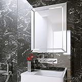Badspiegel Wandspiegel groß mit Rahmen Silber - Sonata Silver 90 x 70 cm