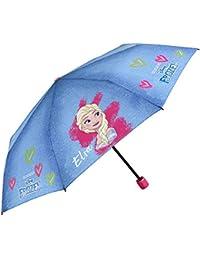Paraguas Plegable Niña Disney Frozen - Paraguas Infantil Estampado Elsa - Azul con Corazones Rosas Verdes