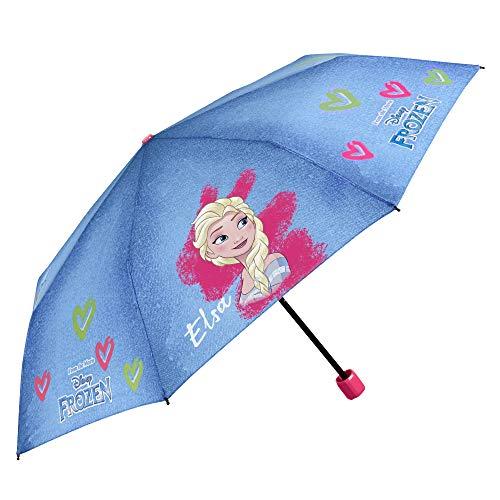 Disney Frozen Kinder Regenschirm - ELSA die Eiskönigin Taschenschirm für Mädchen Klein und Windfest - Kinderregenschirm Blau mit Farbigen Herzen - Manuelle Öffnung - Durchmesser 91 cm - Perletti Kids