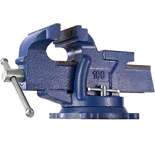 TecTake Schraubstock Amboss 360° drehbar mit Drehteller für Werkbank - Diverse Größen - (Spannweite 125 mm | Nr. 401124)