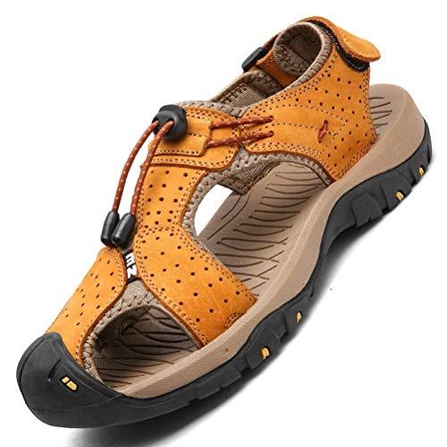 Sandali moda uomo summer beach scarpe in pelle punta chiusa casual escursionismo outdoor walking sandals for man (color : giallo, size : 41 eu)