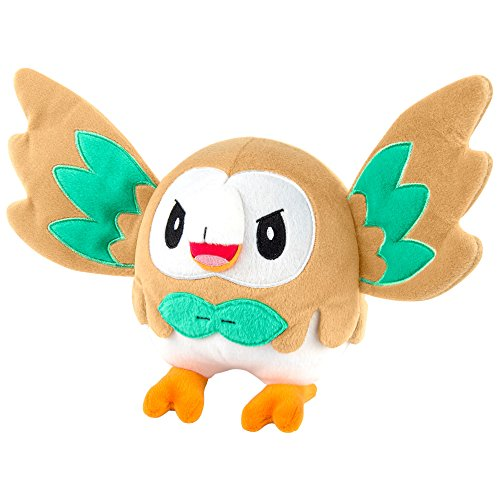 Pokemon Rowlet 8 Inch Plush Toy - Wings Out Rowlet Pose