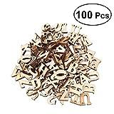 Rosenice 100pcs lettere dell' alfabeto in legno grezzo ritagli di legno artigianale in legno dischi con fori