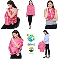 Feather Hug Women's 360° Nursing Feeding, Breathable, Canopy, Babysitting, Maternity Cloak Cover for Breastfeeding (Signature Pink Stripes)