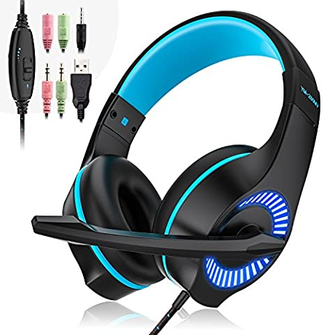 Gaming Headset, MEAMOR 3.5mm Verdrahtete Spiel-Kopfhörer-Kopfhörer mit Mic Surround Stereo Bass,Lärmminderung,LED-Licht,Für PS4 Neue Xbox One Nintendo Switch PC Computer Laptop Handys (blau)