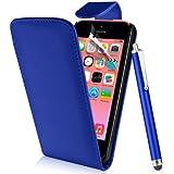 Supergets® Schlichte Einfarbige Hülle für Apple Iphone 5C / 5 C Handytasche in Lederoptik Etui Klappschale Flip Case, Mit Schutzfolie, Eingabestift