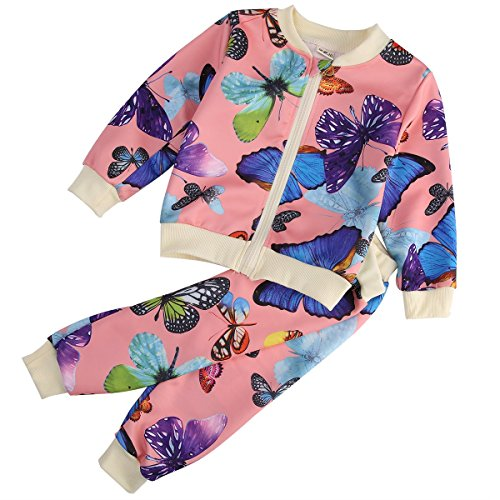 A AURA Baby Boys Girls Kid Sportswear Suit Hoodie T-shirt+pants Outfit Long Sleeve Butterfly Casual 2 Piece Clothes Set (6-12 Months, Pink)