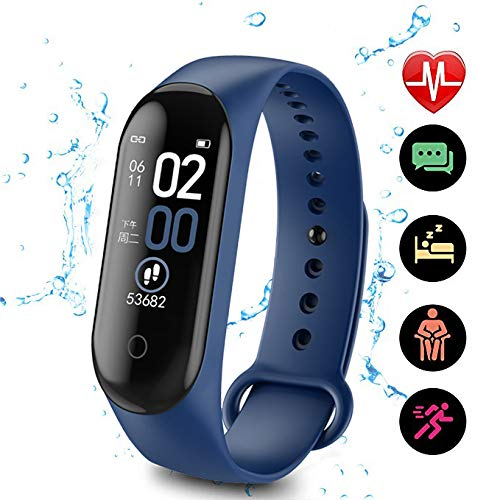LVYIMAO M4 Fitness-Tracker, M4 Smart-Watch, Armband Blutdruck/Herzfrequenz-Monitor, Schrittzähler, Sportarmband, Fitness-Tracker mit Herzfrequenz-Monitor, Farbdisplay, 2099DWN18M, blau