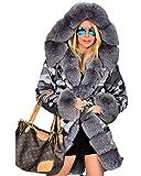 Roiii® Frauen Winter Camourflage Mit Kapuze Verdicken Parka Kunstpelz Lightweight Warme Jacke Mantel Größe S-3XL