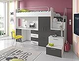 Furnistad | Hochbett für Kinder Sky | Kinderhochbett mit Treppe, Schreibtisch und Schrank (Option rechts, Weiß + Grau)