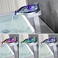 Home Lody® alta cromo RGB LED rubinetto cascata rubinetto elegante design 3Cambiare colore rubinetto miscelatore (Letto Viso)