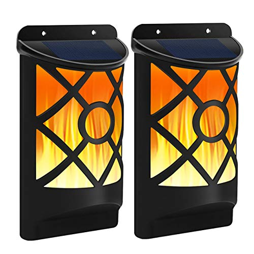 FLOWoodSolarleuchte 2 Stück Tanzen Flamme Beleuchtung 66 LED Flickering Solar Wandleuchte, einfach Montage und IP65 Waaserdicht für Garten, Dekoration, Weg, Terrasse, Zaun