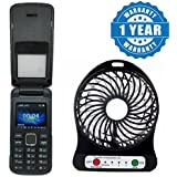 Drumstone Corn Flipone Dual Sim Flip Mobile With Fm Radio And Rechargeable USB Mini Portable Powered Outdoor Camping Office Cooler Fans (One Year Warranty)