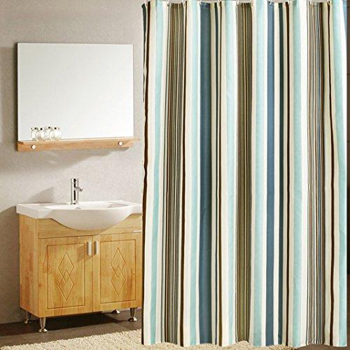 Huaforcity tenda doccia 200x240cm(larghezza x altezza) grande impermeabile anti-muffa poliestere elegante tenda da bagno accessori da bagno vasca con fibbie/ganci modello di strisce