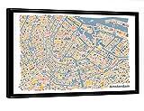 artboxONE Poster mit Rahmen 30x20 cm Vianina Amsterdam Stadtplan von Künstler vianina - Poster mit Kunststoffrahmen