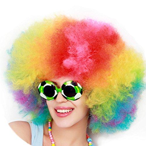 LUOEM Clown Perücke Bunt Afroperücke für Karneval Fasching Party Clown kostüm