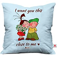 Indigifts Satin I Want You This Close to Me Printed Couple Together Designed Cushion Filled Pillow (Light Blue, 12x12)