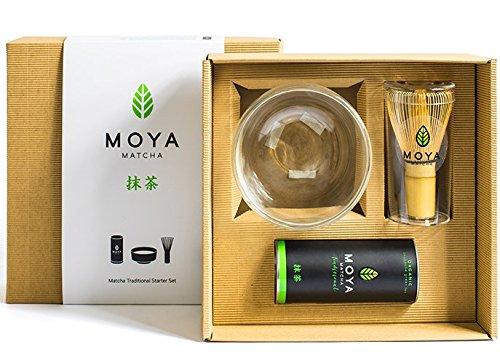 Moya Matcha Té Verde Orgánico Japonés En Polvo Set | 30g Tradicional (II) Paquete de Grado + Bol + Batidor | Tradicional Preparación de té de Grado Starter Kit Básico