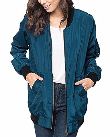 ZANZEA Automne Classique Veste Femme Matelassée Zip Punk Bomber Jacket Long Manteau Vrac Cardigan Blouson Bleu FR 42-44/EtiquetteTaille L