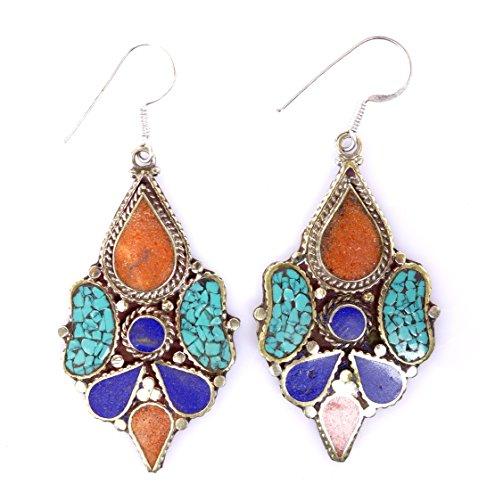 ORECCHINI moda per le donne 925 ARGENTO ORECCHINI CORALLO, LAPIS & Turquoise Earrings da argento tibetano