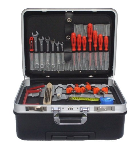Werkzeugkoffer mit Rollen + VDE Werkzeugsatz Elektro 20tlg-Elektriker Werkzeug