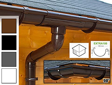 Plastic guttering kit for hipped roof (4 roofsides)   Extra100   in 4 colours! Ideal for summer house or log cabin! (All-in-one set max. perimeter 17,50 m,