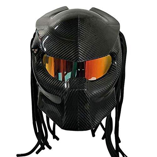 LICIDI Motorradhelm Predator Kohlefaser, die coolste Vollgesichts Eisen Krieger Männer und Frauen Helm Anti-Fog-Linse, DOT Sicherheitszertifizierung,B,M(55~57cm)