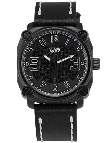 SHARK ARMY Herren Milit?r Armbanduhr Datumsanzeige Quadrat Geh?use Schwarz Lederband SAW223