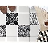 Carrelage adhesif décoratif au sol   Revêtement salle d'eau - Décoration autocollante   Motif Black n White   30x30 cm - 4 pièces (2x2)