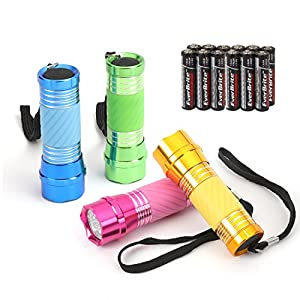 EverBrite Mini Taschenlampe LED 4-tlg. Handlampe LED Aluminium kleine Taschenlampe für Camping, Outdoor, Radfahren…
