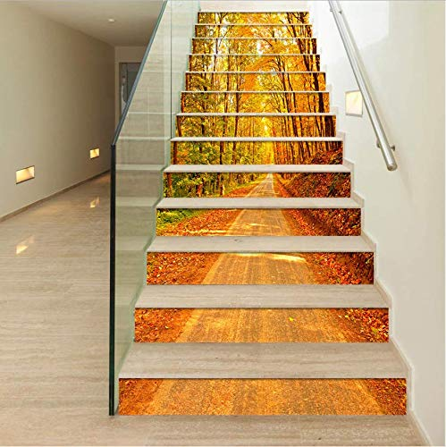LIZHIOO Treppenaufkleber Landschaft Treppe Diy3D Stereo Abnehmbare Aufkleber Wasserdicht Selbstklebende PVC Wand Boden Wohnkultur Wandaufkleber (100cm*18cm) 6pcs - Wasserdicht Meeres Stereo