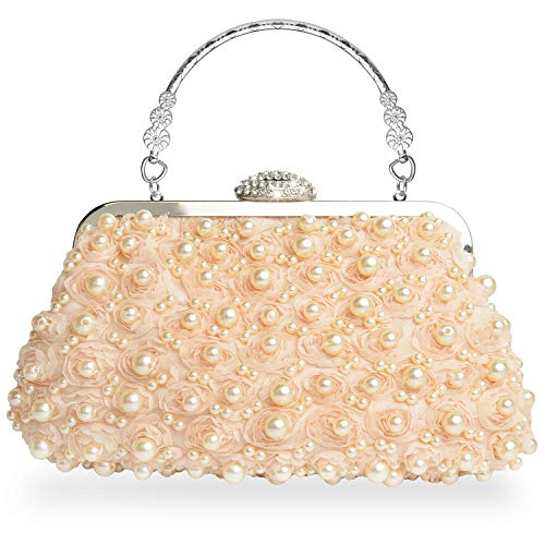 Abend Handtaschen Kupplungen (WATACHE Frauen Edle Kristall Perlen Perle Blume Blumenspitze Kupplungen Abend Handtaschen Schulter Umhängetaschen Geldbörse für Party Hochzeit (Aprikose))