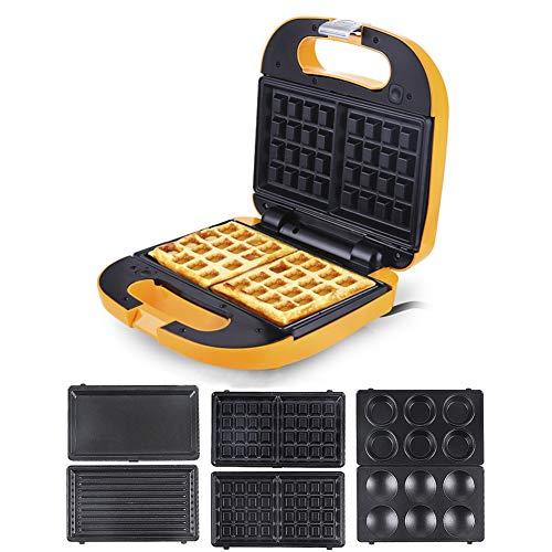 Macchina per waffle, Macchine per waffle Macchina per cupcakes Macchina crepe 3 in 1 Automatico Antiaderente Staccabile Lavabile-giallo 22x22x9cm(9x9x4inch)