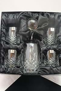 Gravure Buckingham Lot de 5Carafe À Décanter le Whisky verres rondes en cristal Satin Boîte de présentation