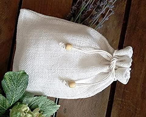 Plain White Rustic-Style Drawstring Hessian Bags (Pack of 3) in White Hessian. Size 20cm x 27cm. Bag Code #28WH