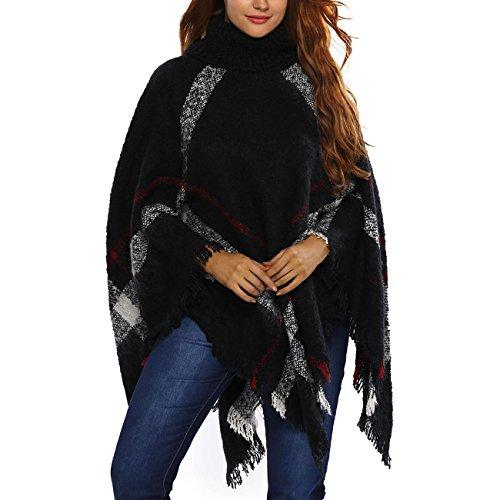 DISSA ES27618 Sweater Cape Poncho Cardigan Pull Noir
