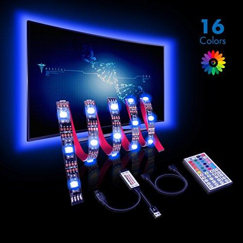 Efikeco LED TV Hintergrundbeleuchtung, LED TV Beleuchtung USB led Stripes 2M (4Stück 50cm) mit 44keys Fernbedienung für 40 bis 60 Zoll HDTV, TV-Bildschirm und PC-Monitor