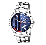 Hala Fashion Quartz Movement Analogue Blue Dial Stainless Steel Day and Date Functioning Men's Watch