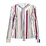 MERICAL Damen Casual Cuffed Langarm V-Neck Shirt Streifen Druck blusenShirt Tops(EU:38-40/CN:M,Gelb)
