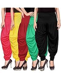 75e9302960 Fashion And Freedom Women's Lycra Dhoti Patiala Salwar Harem Pants  FF_00PYRGB_1, PINK, YELLOW, RED, GREEN, BLACK, FREESIZE , Combo…