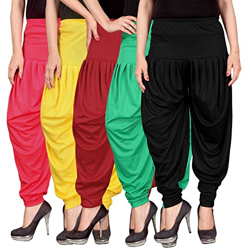 Culture the Dignity Women\'s Lycra Dhoti Patiala Salwar Harem Pants CTD_00PYRGB_2-PINK-YELLOW-RED-GREEN-BLACK-FREESIZE -Combo Pack of 5