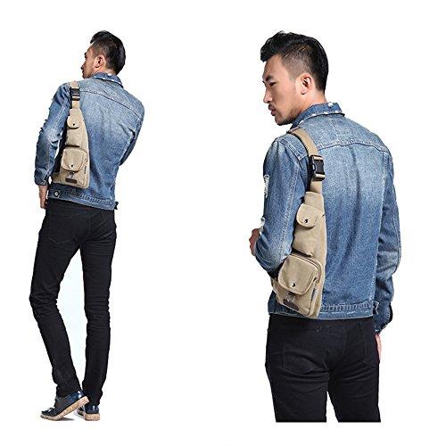 Wewod Klein Bodybag Crossbag Umhängetasche Slingpack für Damen Herren--17*4*37 cm/fünf Fach Blau