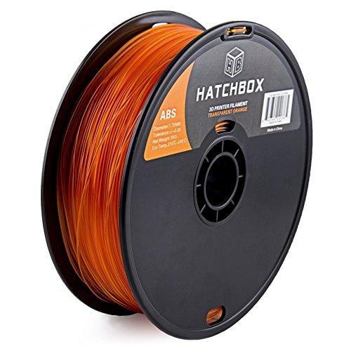 Preisvergleich Produktbild HATCHBOX 1,75 mm transparent orangenes ABS-Filament für 3D-Drucker - 1 kg-Spule - Maßgenauigkeit +/- 0,05 mm