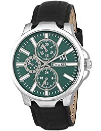 Watch Me Green Dial Black Leather Strap Day And Date Watches For Mens Stylish Collection Series Analog Quartz...