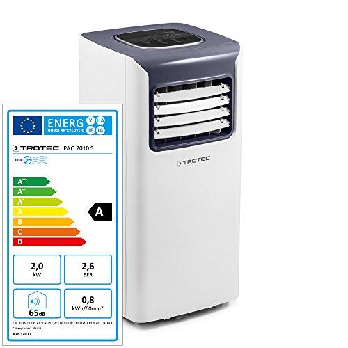TROTEC 1.210.002.008 - Climatiseur local monobloc PAC 2010 S de 2,0 kW pour pièces de 65 m³ max., classe énergétique A avec Trois modes de fonctionnement : rafraîchissement, ventilation, déshumidification