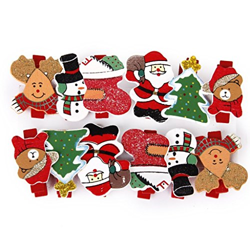 Mini pinzas de madera con diseño navideño para notas con clip para...